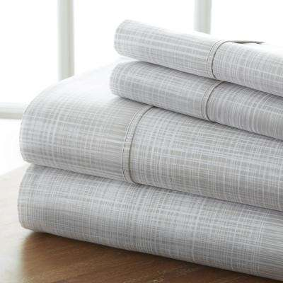 Thatch Patterned 4-Piece Gray King Performance Bed Sheet Set