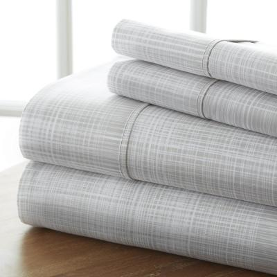 4-Piece Gray Plaid Microfiber Queen Sheet Set