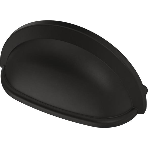 Essentials 3 in. (76mm) Center-to-Center Matte Black Cup Pull (12-Pack)