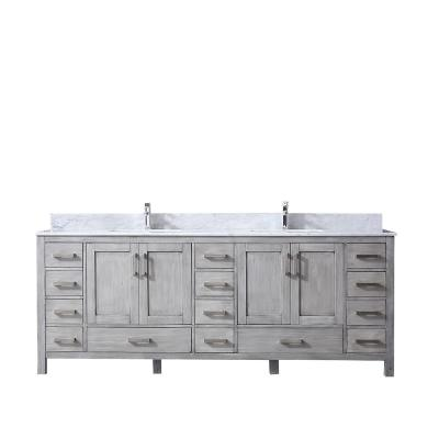 Jacques 84 in. Double Bath Vanity in Distressed Grey with White Carrera Marble Vanity Top with White Square Sinks