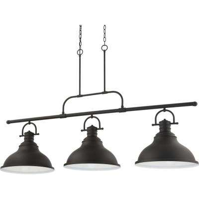 3-Light Integrated LED Indoor Foundry Bronze Linear Kitchen Island Hanging Pendant with Bell-Shaped Bowls