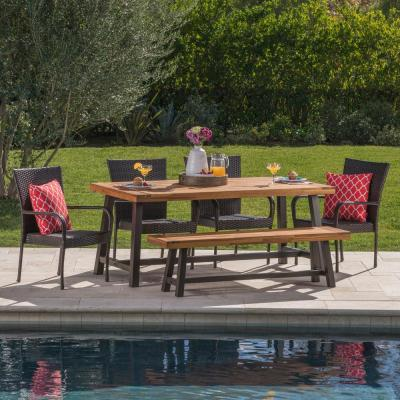 Elisa 6-Piece Wood and Wicker Outdoor Dining Set with Stacking Chairs and Bench