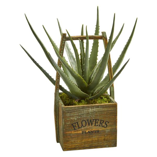 Nearly Natural Indoor Aloe Artificial Plant in Vintage Decorative Basket 9060