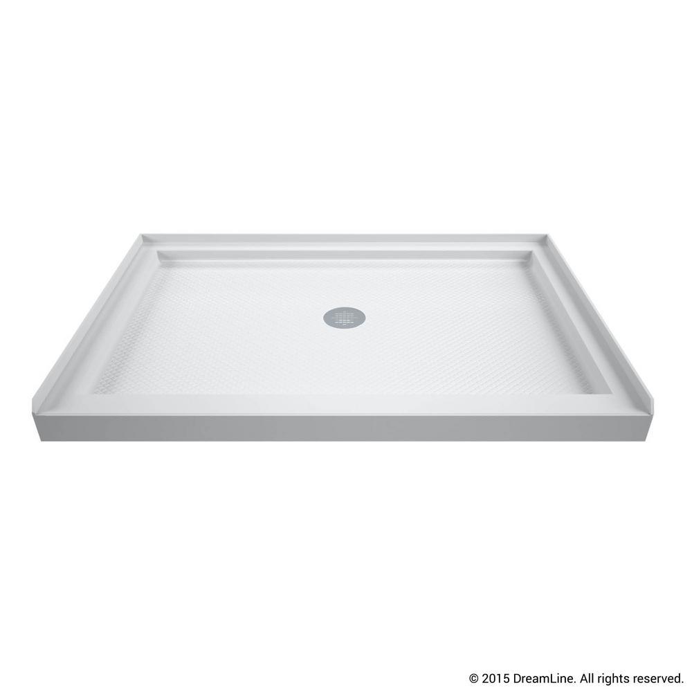 SlimLine 48 in. W x 34 in. D Single Threshold Center Drain Shower Base in White