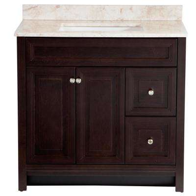 Brinkhill 37 in. W x 22 in. D Bathroom Vanity in Chocolate with Stone Effect Vanity Top in Dune with White Sink