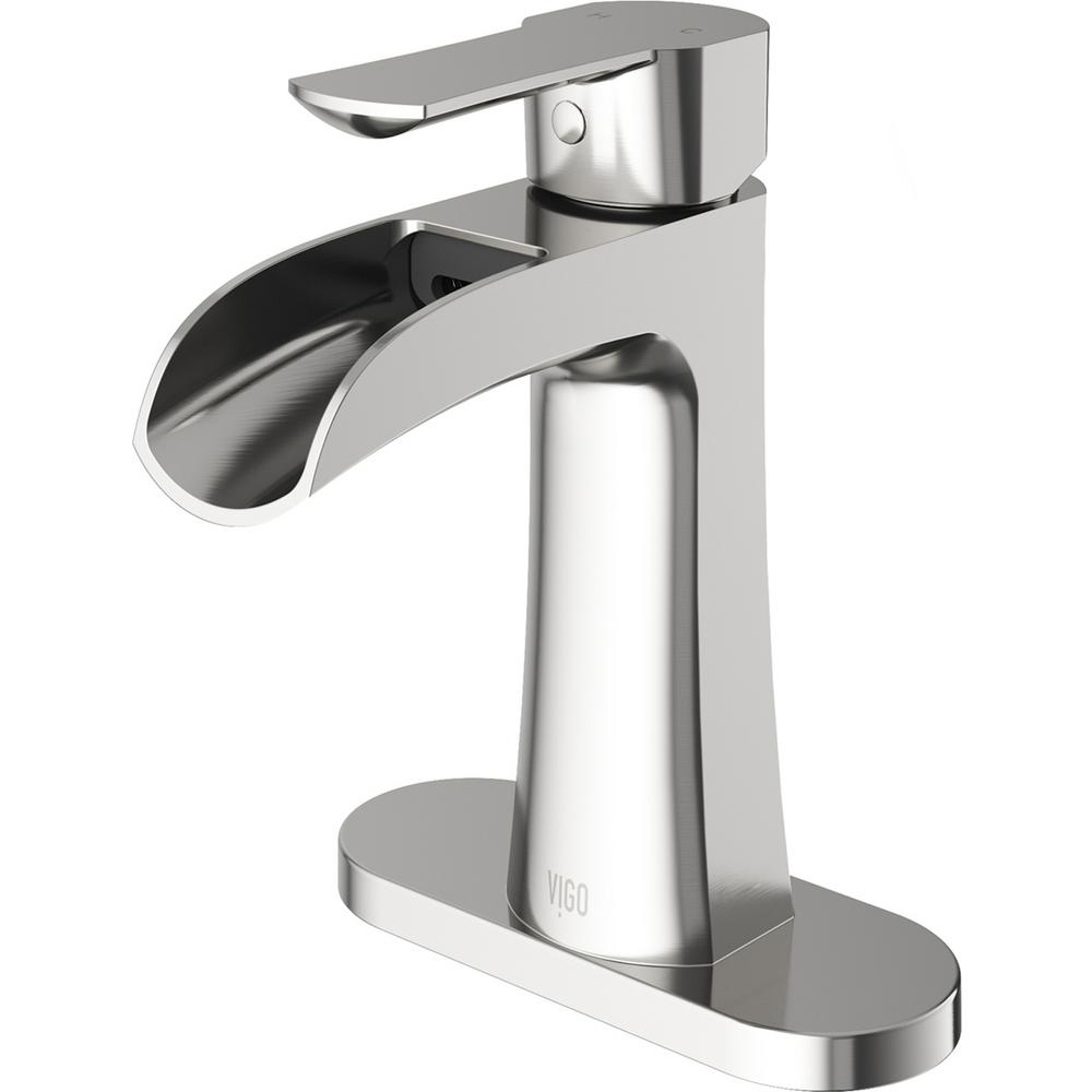 VIGO Paloma Single Hole Single-Handle Bathroom Faucet with Deck Plate in Brushed Nickel