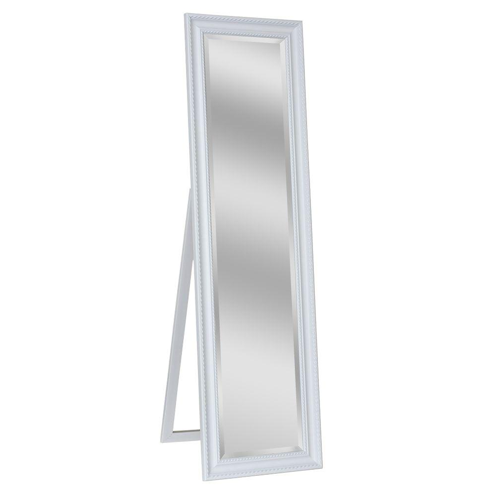 Deco Mirror 18 in. x 64 in. Carousel Floor Mirror in White