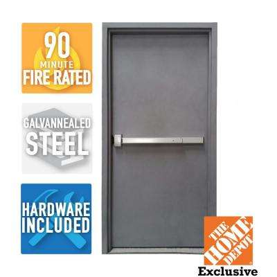 36 in. x 80 in. Fire-Rated Gray Right-Hand Flush Steel Commercial Door and Frame with Panic Bar and Hardware