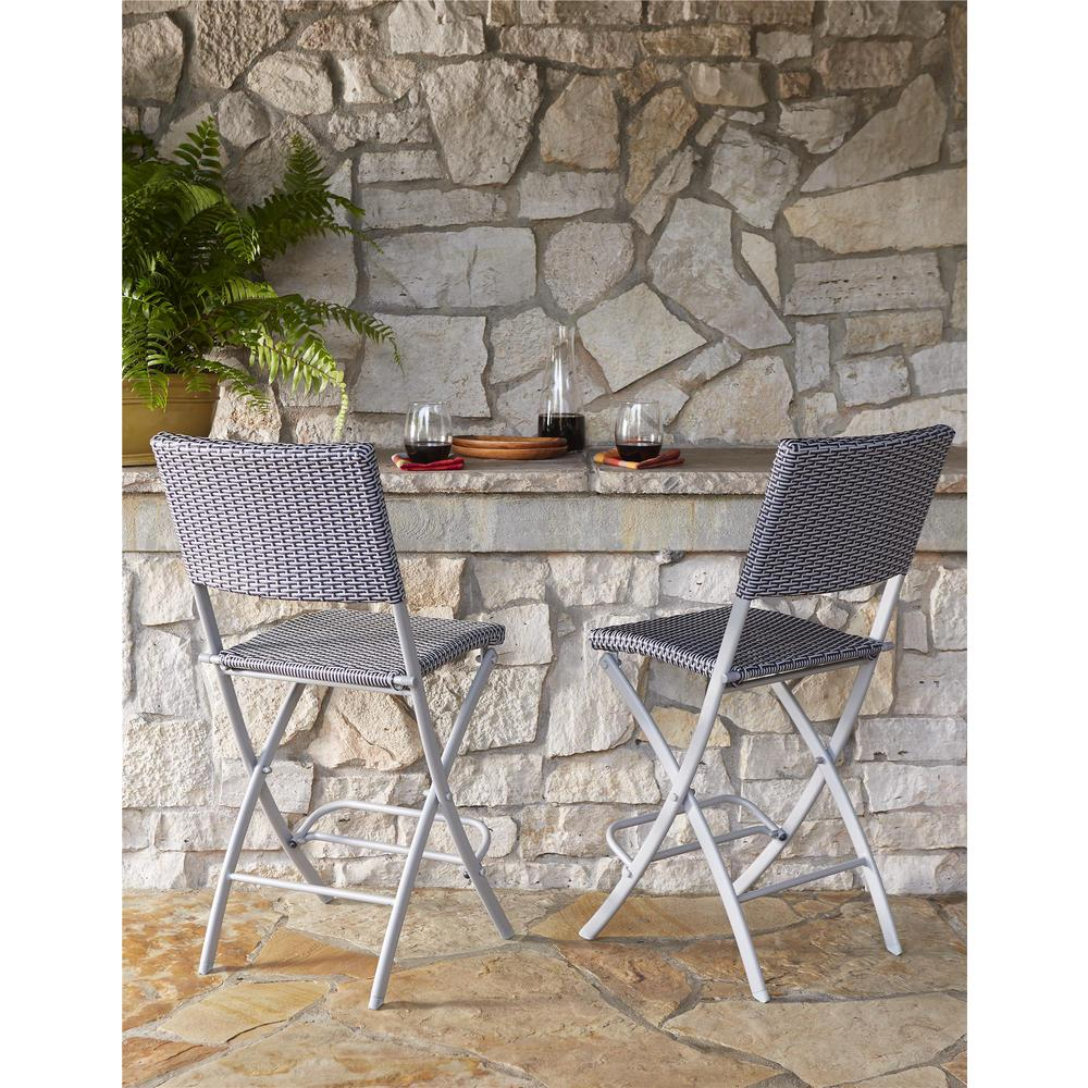 Cosco Delray Transitional Steel Blue U0026 Gray Woven Wicker High Top Folding  Patio Bistro (Set