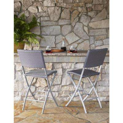 Delray Transitional Steel Blue U0026 Gray Woven Wicker High Top Folding Patio  Bistro (Set Of