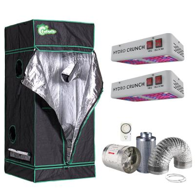 600-Watt Equivalent Veg/Bloom Full Spectrum LED Plant Grow Light Fixture with Grow Tent and Ventilation System