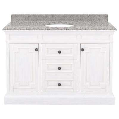 Cailla 49 in. W x 22 in. D Bath Vanity in White Wash with Granite Vanity Top in Napoli with White Sink