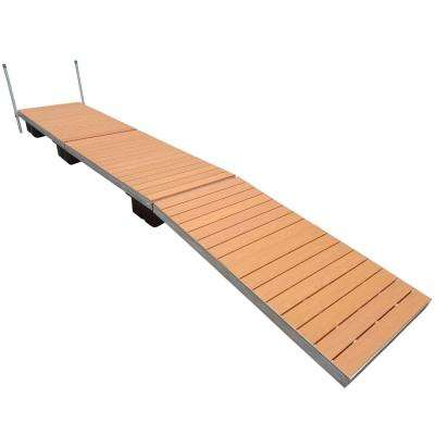 24 ft. Low Profile Floating Dock with Brown Aluminum Decking
