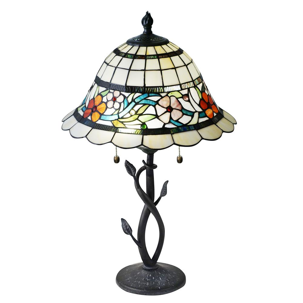 26 in. Antique Bronze Table Lamp with Hand Rolled Art Glass