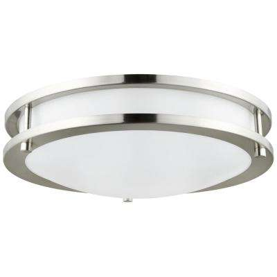 14 in. Brushed Nickel Dimmable Energy Star and ETL Listed Double Band Round LED Flush Mount in 3000K