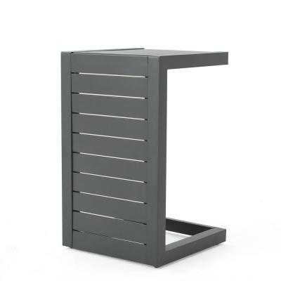Cape Coral Grey Aluminum Outdoor Side Table