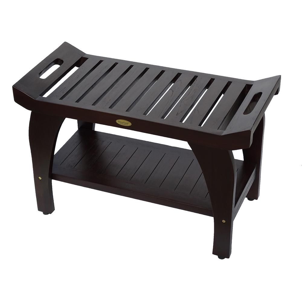 DecoTeak Tranquility 30 in. Teak Shower Bench with Shelf-DT123 - The ...