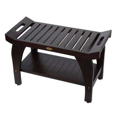 Tranquility 30 in. Teak Shower Bench with Shelf