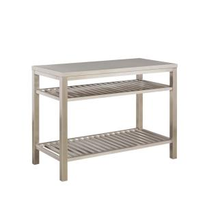 Home Styles Brushed Satin Stainless Steel Kitchen Island ...