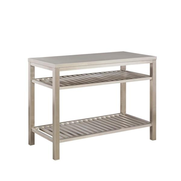 Brushed Satin Stainless Steel Kitchen Island By Home Styles