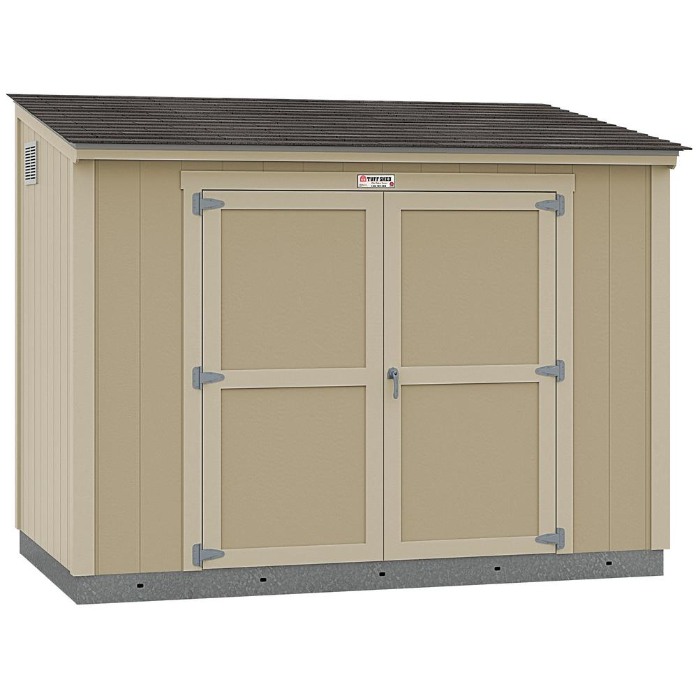 Tuff Shed Installed The Tahoe Series Lean-To 6 ft. x 10 ft. x 8 ft. 3 in. Un-Painted Wood Storage Building Shed and Sidewall Door, Browns / Tans -  6x10 L2 S1 NP
