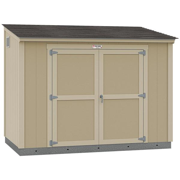 Installed The Tahoe Series Lean-To 6 ft. x 10 ft. x 8 ft. 3 in. Un-Painted Wood Storage Building Shed and Sidewall Door