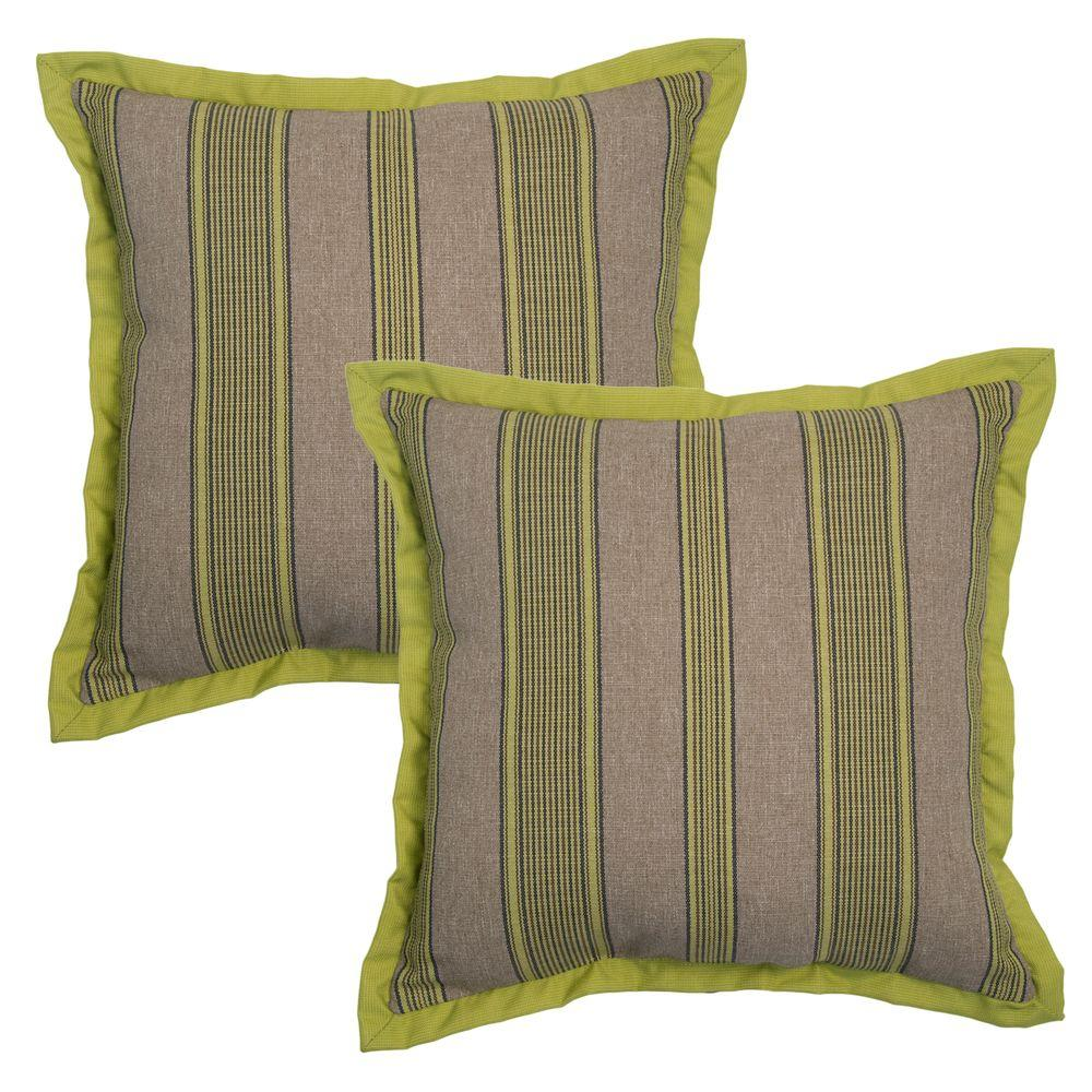 Hampton Bay 18 in. Luxe Stripe Outdoor Toss Pillow with Coordinating Flange (2-Pack)-7359 ...