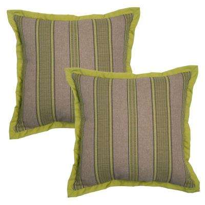 18 in. Luxe Stripe Outdoor Toss Pillow with Coordinating Flange (2-Pack)