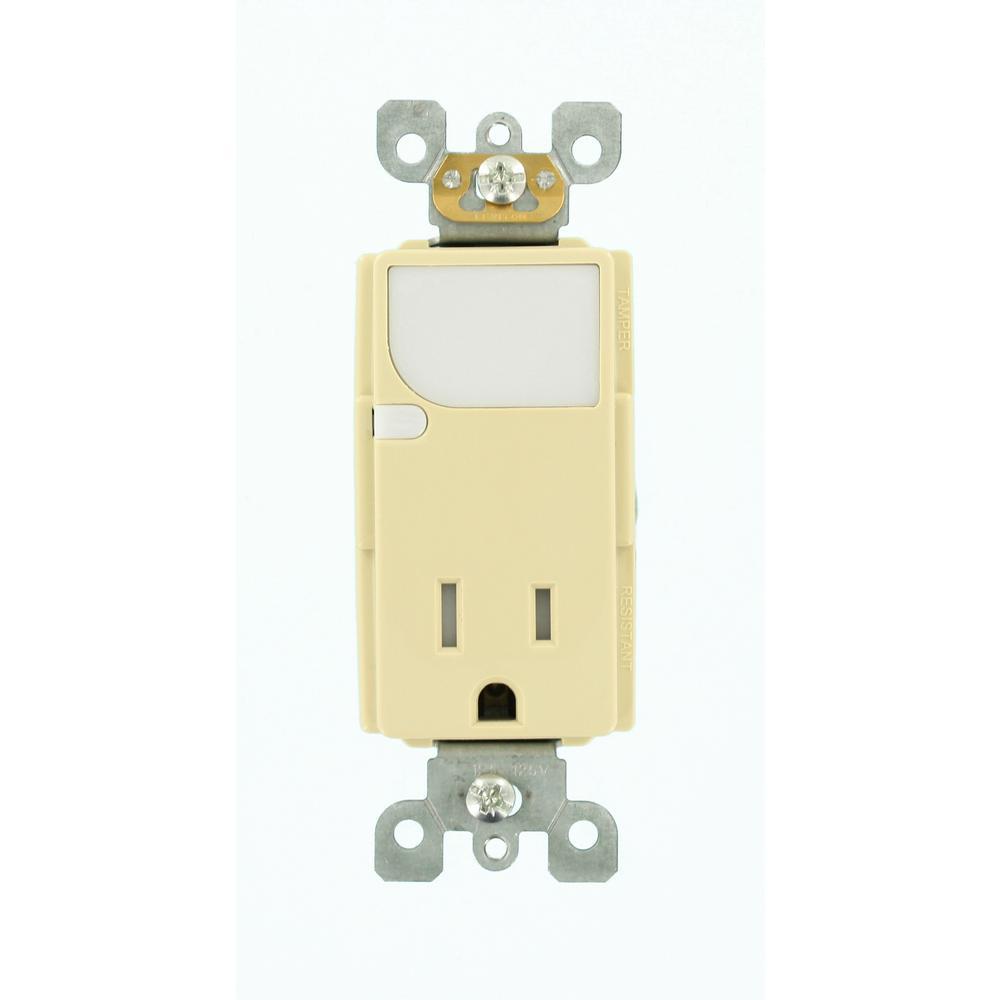 Decora 15 Amp 125-Volt Combination Outlet with LED Sensor Guide Light, Ivory