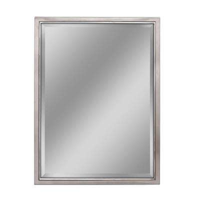 30 in. W x 40 in. H Classic Metal Framed Wall Mirror in Brush Nickel / Chrome