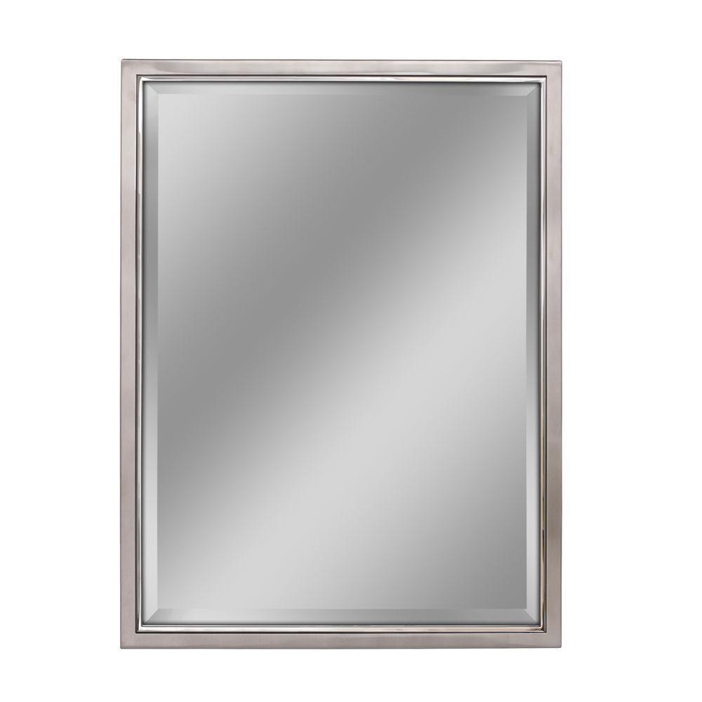 30 in. W x 40 in. H Framed Rectangular Beveled Edge Bathroom Vanity Mirror in Brush nickel with chrome inner lip