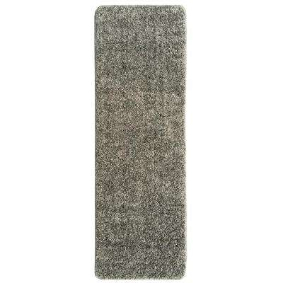 Loft Collection Shag Solid Design Gray 2 ft. x 6 ft. Non-Skid Runner Rug