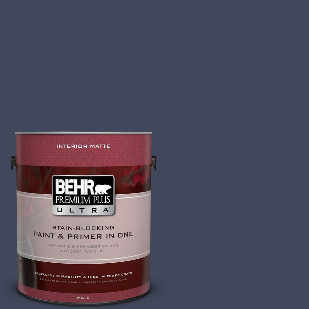 BEHR Premium Plus Ultra 1 gal. #S530-7 Dark Navy Matte Interior Paint and Primer in One