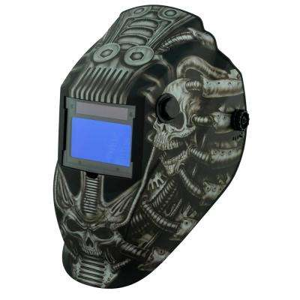8735SGC Gray Techno Skull 9 -13 Shade Auto Darkening Welding Helmet with 3.78 in. x 2.05 in. viewing area