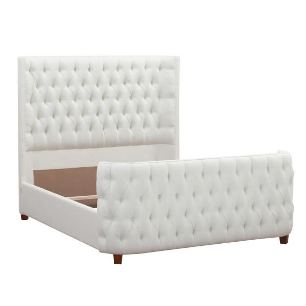 Jennifer Taylor Antique White Queen Brooklyn Tufted Headboard Bed 2559-879-3