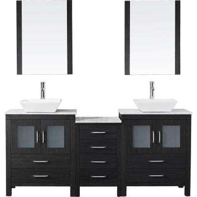 Dior 66 in. W x 18.3 in. D Vanity in Zebra Grey with Marble Vanity Top in Carrara White with White Basin and Mirror