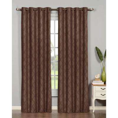 Semi-Opaque Newbury Lattice 54 in. W x 84 in. L Room Darkening Grommet Extra Wide Curtain Panel in Chocolate