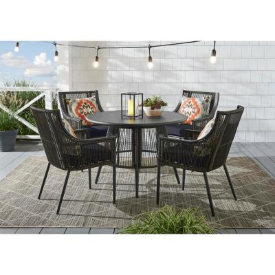 Bayhurst 5-Piece Black Wicker Outdoor Patio Dining Set with CushionGuard Midnight Navy Blue Cushions
