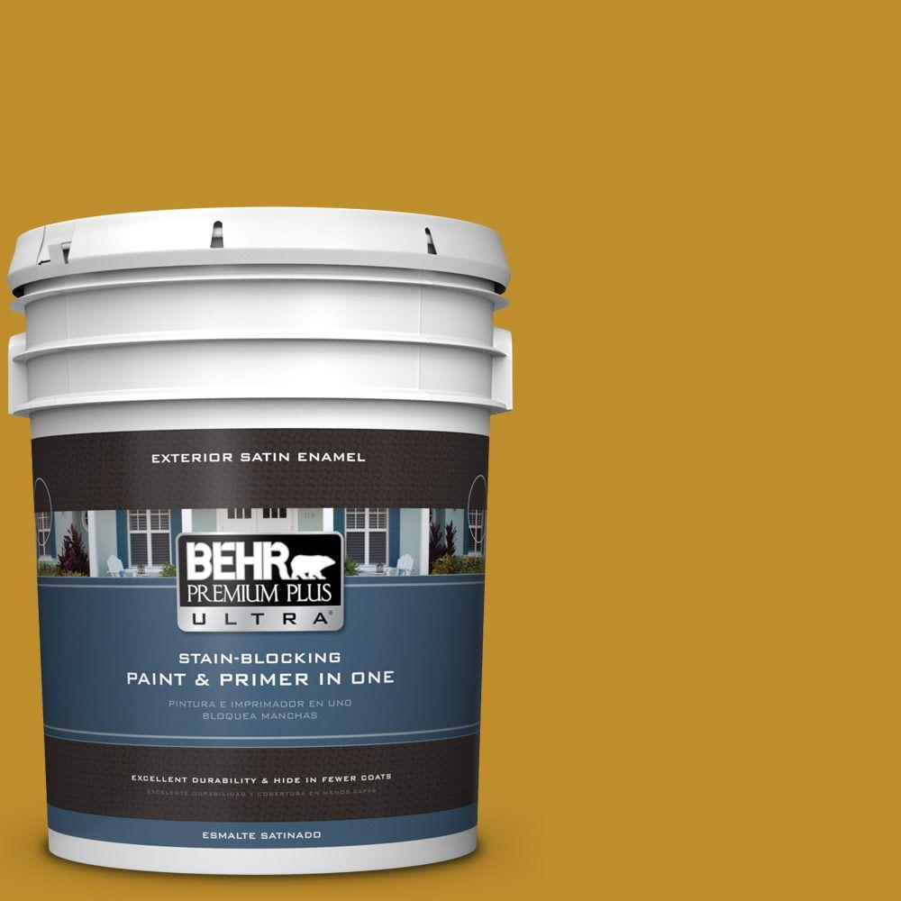 5-gal. #360D-7 Brown Mustard Satin Enamel Exterior Paint