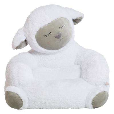 White, Gray Children's Plush Lamb Character Chair