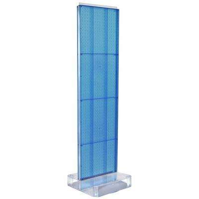 60 in. H x 16 in. W Two-Sided Pegboard Floor Display on Studio Base in Blue