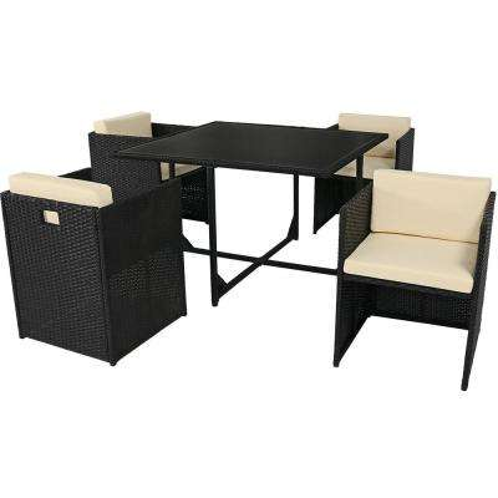 Miliani Black 5-Piece Metal Patio Conversation Set with Beige Cushions