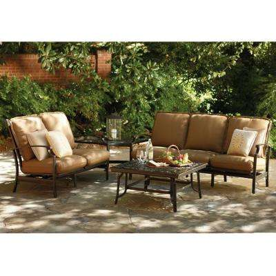 Messina 4-Piece Patio Sectional Seating Set with Cocoa Cushions