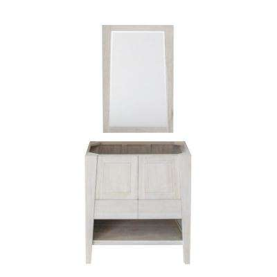 Significado 30 in. W Teak Vanity Bath Cabinet Only With Mirror in Driftwood