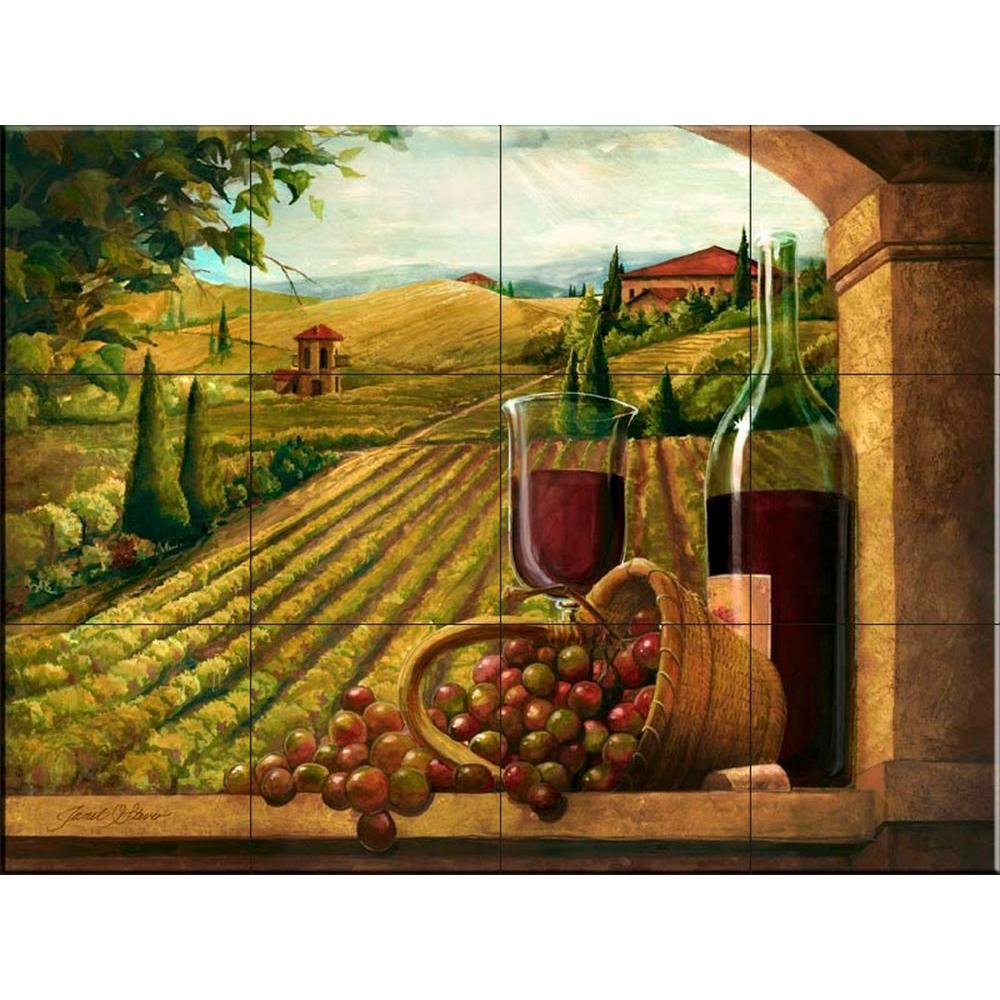The Tile Mural Store Vineyard Window I 24 in. x 18 in. Ce...