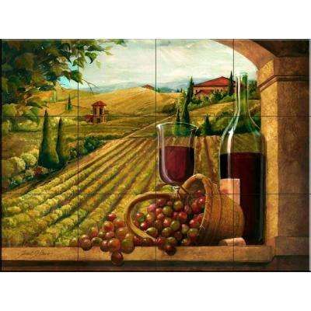 Vineyard Window I 24 in. x 18 in. Ceramic Mural Wall Tile