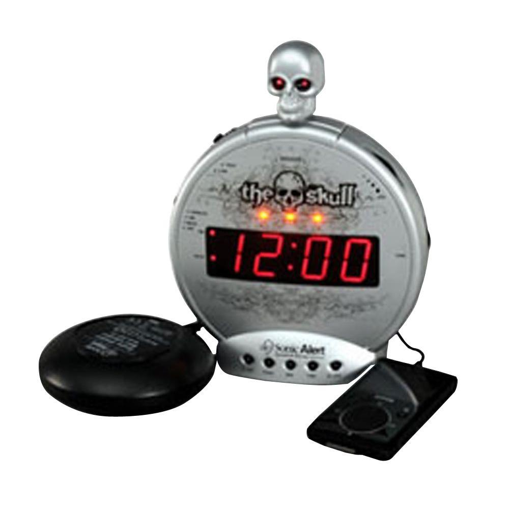 Skull Mp3/iPod Alarm with Shaker, Silver