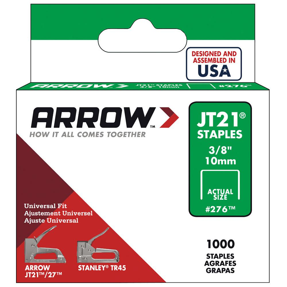 Arrow Fastener 3/8 in. Leg x 7/16 in. Crown Galvanized Steel Staples (1,000-Pack)