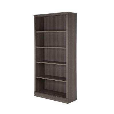 71.5 in. Gray Maple Faux Wood 5-shelf Standard Bookcase with Adjustable Shelves