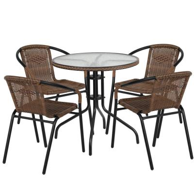 Black 5-Piece Metal Frame with Round Glass table Top Outdoor Bistro Set
